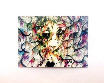 ACEO.  small art, Watercolor art illustration artist trading card. Art card