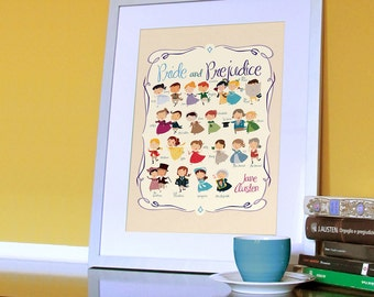 Jane Austen: Pride and Prejudice print. Marathon with all the characters from the book