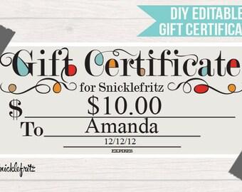 DIY Printable Gift Certificate-Blocked -8.25'x3.74'- Digital Download