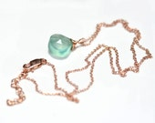 Aqua Chalcedony Necklace <<>> Rose Gold, Sterling Silver, or Gold