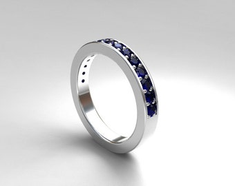 Blue sapphire ring, White Gold, sapphire wedding band,blue wedding, wedding ring, blue, half eternity, wedding band, birthstone