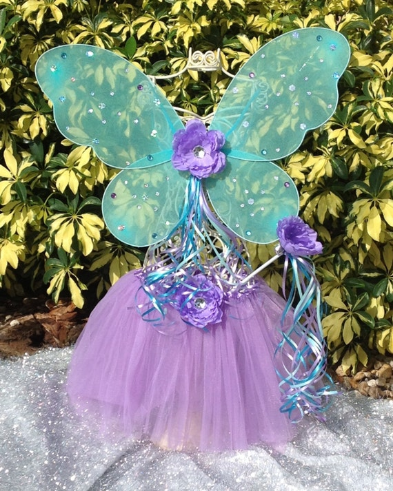 Fairy Princess Blue Turquoise Wings, Purple Fairy Ballet Tutu,Purple and Blue Fairy Princess Wand with Matching Flower Dress Up Tutu Set