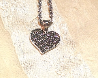 Medieval Patterned Heart Necklace Handmade Jewelry Diamond & Spiral Design Etched for Light Reflection