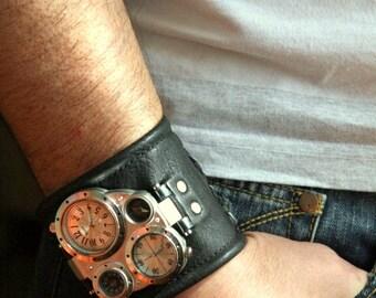 "Mens wrist watch leather bracelet ""Pathfinder"" - Steampunk watch - Gifts for him - Military watch - Watch strap - SALE - Worldwide Shipping"
