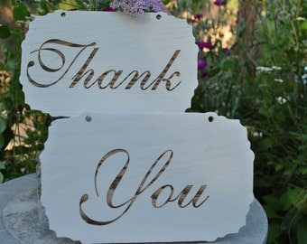 Thank You Wedding Sign Set: Hand Painted White and Laser Engraved Wood Wedding Signs.