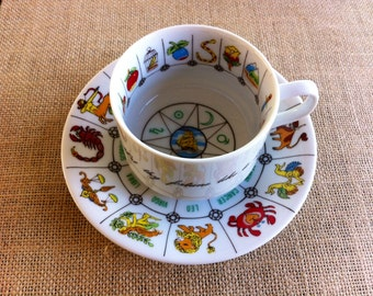International Collectors Guild.Ltd Tea Cup and Saucer, Astrology, Fortune Telling, Fine China,  Tasseography. 1980's