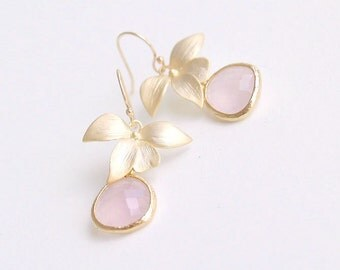 Pink Drop Earrings - Bridesmaid Earrings with Flower on Gold Filled Earwires - Gifts, Bridal, Bridesmaids