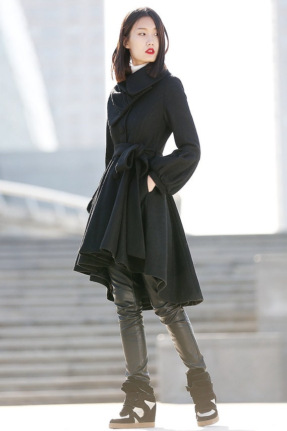 Pea coat wool coat winter coat asymmetrical coat black