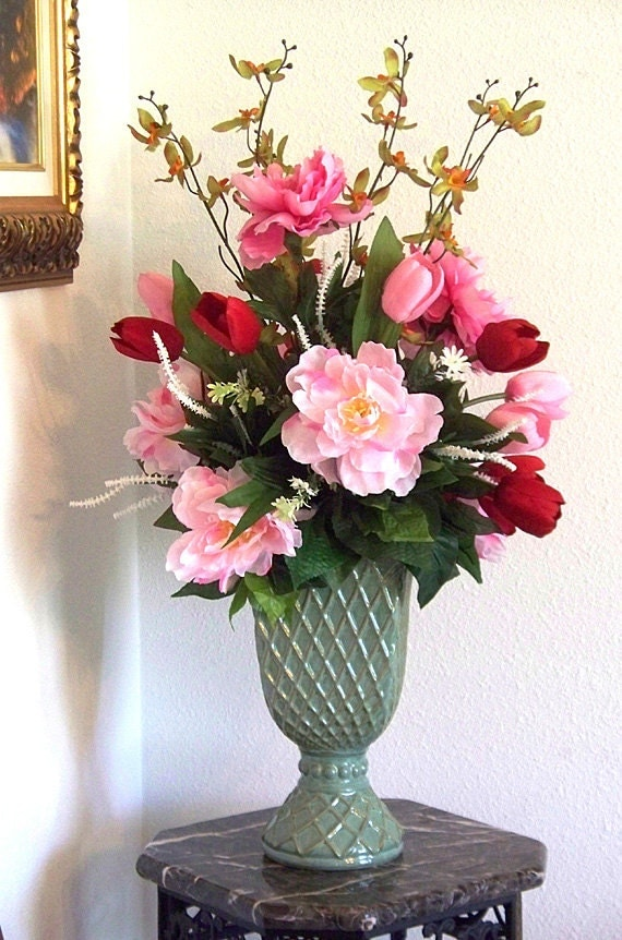 Silk flower arrangement silk floral by artsandcreations on for Dining table flower arrangements