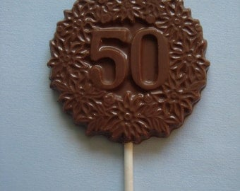 12 Chocolate Decorative #50 Lollipops Fiftieth Wedding Anniversary Birthday Party Favors Candy Dessert Fifty