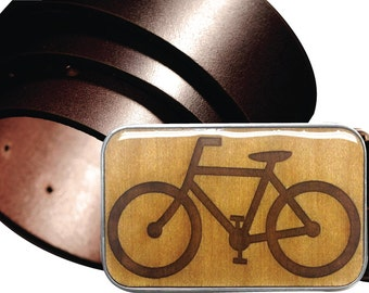 INTERCHANGEABLE belt buckle, Interchangeable Magnetic BIKE belt buckle, wooden Bicycle buckle, Laser etched woodenbuckle, Cyclist Buckle