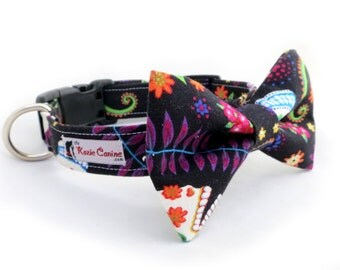 Dia De Los Muertos Skull Dog Collar (Black & Neon Dog Collar - Matching Bow Tie Available)