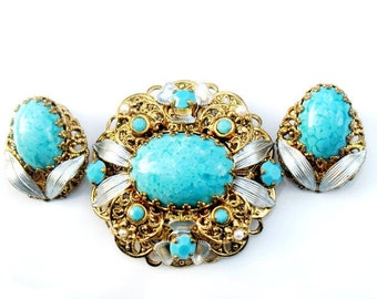 Germany Turquoise Blue Set Brooch And Earrings Vintage Rhinestone Silver Gold Germany Signed Collectible Jewelry Victorian Style For Women