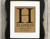 Burlap Print - Wedding Gift - Personalized Print - Family Name Sign