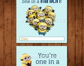 """Printable """"Despicable Me"""" Minion Valentine Tags & Cards"""
