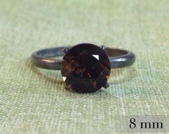Smoky Quartz Ring, Sterling Silver Ring with Smoky Quartz Gemstone, Wedding Ring, Engagement Ring, Promise Ring