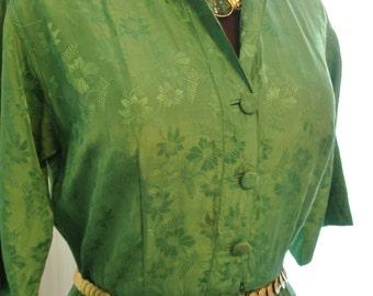 """Emerald Green Silk Pleated Skirt  Shirt Dress 39"""" bust"""