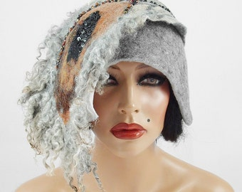 Felted Hat Flapper Hat Cloche Hat Nunofelt ART DECO BEAUTY Grey Hat Artistic Hat Felt Hat Felt Nuno felt