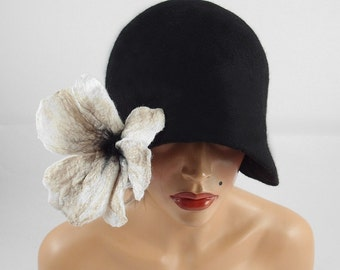 1920s Hat Felted Hat Cloche Hat Flapper Hat black hat art deco noir wearable art art deco wool felt nunofelt nuno felt silk