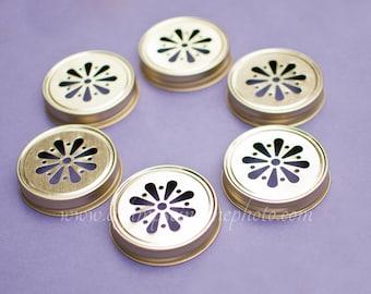 Ready to Ship Set of 6 Gold Color Daisy Mason Jar Lids DIY Wedding, Party Decor