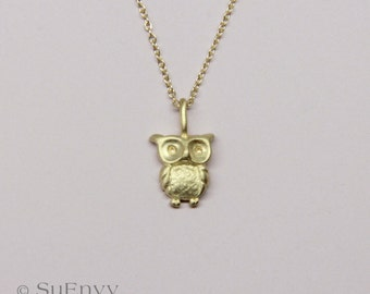 """Baby owl Necklace in 14k gold, 18""""inches necklace,  Fine jewelry Gift for her"""