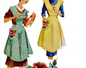 Vintage 1950's Bib Aprons Pattern with Rose Transfers Small Bust 38 - 40 McCall's 1804 Sewing Patterns Uncut Factory Folds