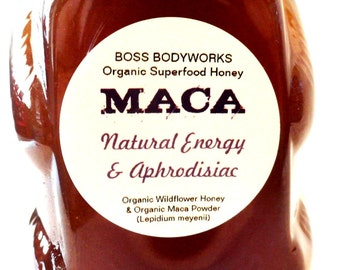 Organic MACA Honey -12 oz- non-GMO, kosher, fair trade herbal infused wildflower honey