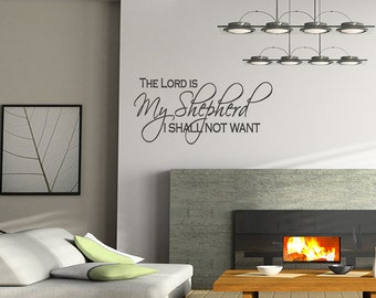 Wall Quotes The Lord is my Shepherd I Shall Not Want Vinyl Wall Decal Quote Removable Wall Sticker Home Decor (C011)
