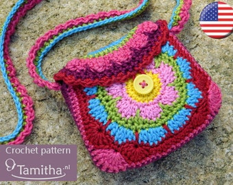 PATTERN Flowery Purse (English USA - crochet pattern - pdf)