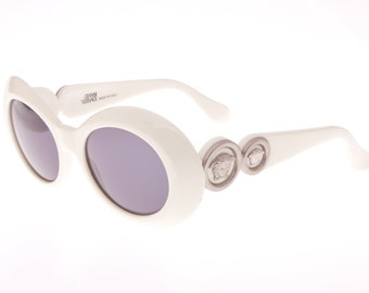 Gianni Versace double Medusa vintage oversized sunglasses, Fabulous  Mod. 418 E in white, NOS 1990s