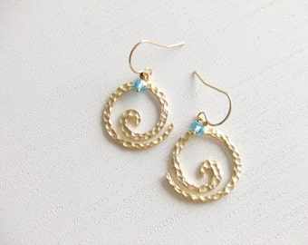 Ocean Wave Jewelry Earrings, 16K Gold Plated Earrings, Aqua Earrings, Gift for Her
