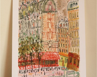 CAFE PARIS Art Print, Mixed Media Painting, Signed Giclee Print, Cafe Rouge Drawing, Parisian Wall Art, French Buildings, Montmartre Print