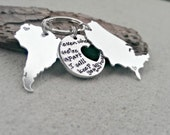 Keep you in my Heart - Long Distance Relationship - Best Friends Keychain - Couples Keychain - States Keychain - Deployment Gift - Keychain
