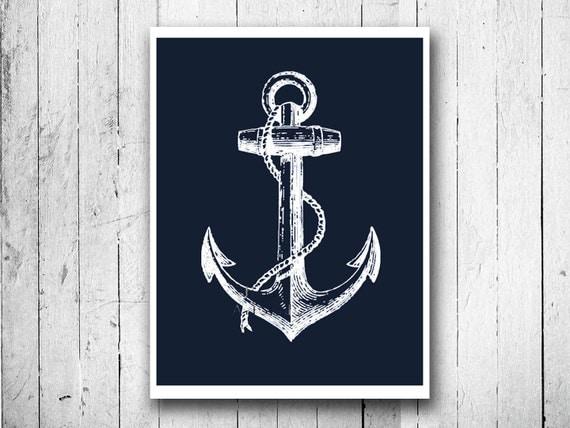 Blue Anchor Wall Decor : Navy blue ship anchor nautical poster print by eeartstudio