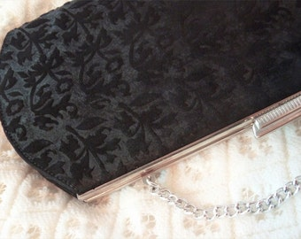 RETRO long-shaped HANDBAG, black damask VELVET