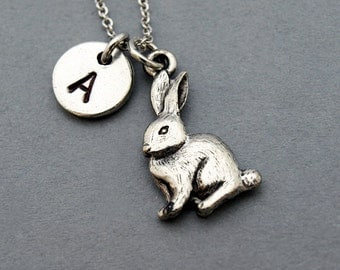 Rabbit Necklace, bunny, easter bunny, initial necklace, initial hand stamped, personalized, antique silver, monogram