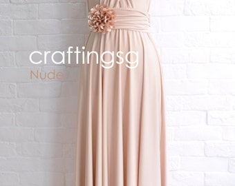 Bridesmaid Dress Infinity Dress Nude Floor Length Wrap Convertible Dress Wedding Dress