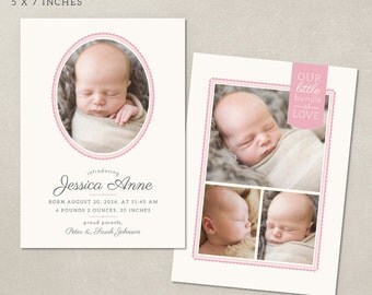 Birth Announcement Template - Delicate Frames CB012 - psd instant download