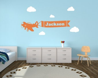 Personalized Airplane Clouds Name Decal - Airplane Banner Childrens Room Decor Kids Room Teen Name Vinyl Wall Decal Airplane With Clouds