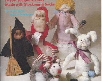 1981 Vintage Crafty Soft Sculptures Instruction and Pattern Book by Gwen Baird & Liz Mashburn, 23 Page Book, Home Sewing Crafts, Santa, Bear