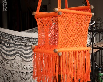 Baby swing chair in macrame soft cotton orange for Diy macrame baby swing