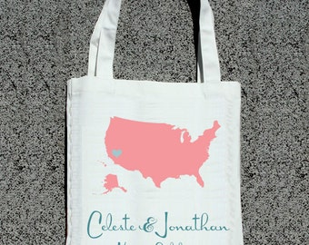 Destination Wedding Map- Wedding Welcome Tote Bag