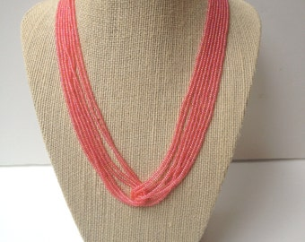Coral necklace, pink necklace, iridescent coral, dark pink necklace, dark coral necklace, seed bead pink,  beaded necklace