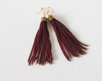 SALE Tassel garnet earrings,seed bead earring,seed bead jewelry,fringe earrings, long earrings, long tassel, wine color earring,burgundy