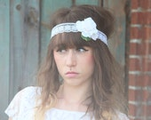 SALE! White lace headband with a flower.