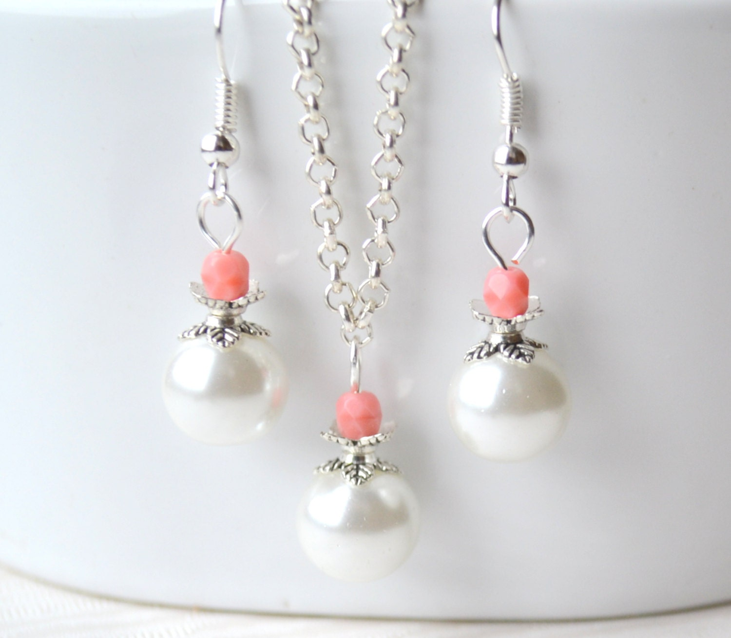 Pink beaded bridesmaid jewelry set pink jewelry by for Pink wedding jewelry sets