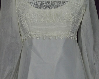 "1970s Empire, Long Sleeve, Wedding Gown/Dress w 62"" Train, Alfred Angelo Original, Size 9-10, ILGWU"