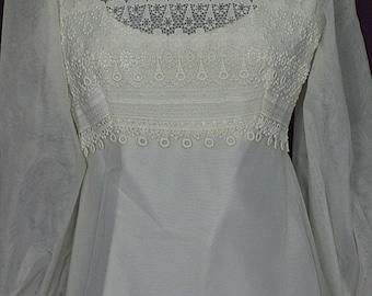"1970s Empire, Long Sleeve, Wedding Gown/Dress w 62"" Train, Alfred Angelo Original, Size 9-10, ILGWU"