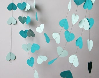 Wedding heart garland, Wedding decor, Bridal shower garland, Wedding decorations, Bridal shower decor, Teal wedding, Paper garland, KCO-0030