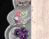 Wooden Bunny, Door or Window Hugger, Easter Eggs and Pansies, Handpainted